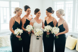 The bride and her bridesmaids before the wedding ceremony