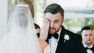 Groom cries during his wife's wedding vows